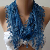 Blue  / Elegance  Shawl / Scarf with Lacy Edge---