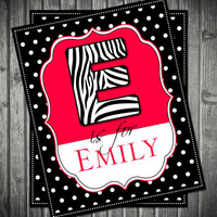 Pink & Zebra Name Wall Art