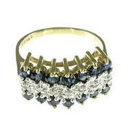 Vintage 14K Yellow Gold Sapphire Diamond Ring