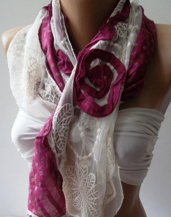 Fuchsia - Elegance Shawl / Scarf with Lace Edge--