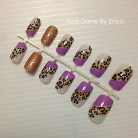 Customized Leopard Press On Nails, Artificial nails, False nails, Hand painted, Fake nails. (Available in other colors upon request)