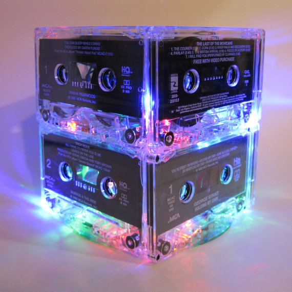 80s Music Lover Cassette Tape Lamp MixTape Night Light Lamp Centerpiece Upcycled Repurposed