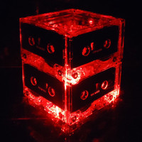 Red Repurposed Cassette Tape MixTape LED Night Light Lamp Centerpiece