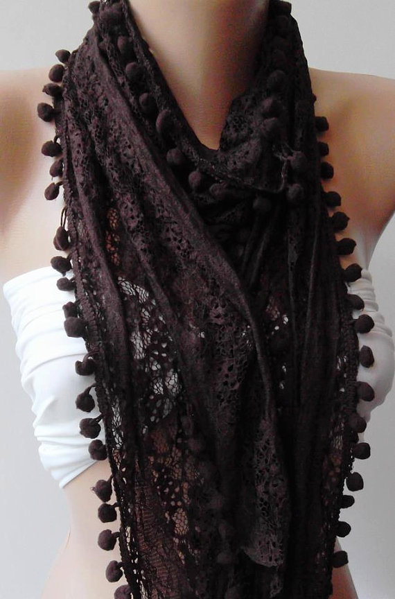 Brown - Lace and Elegance Shawl / Scarf - with Pompom-