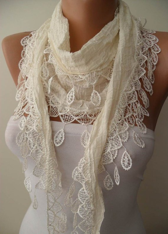 Creamy White Cotton Scarf with Cream Trim Edge....