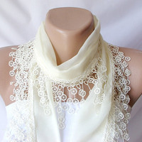 SALE % 20 - Was 15 Now 12-Cream, ivory Cotton Scarf with Lace