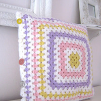 Lizbeth...Crochet Retro Pillow Cover- Made To Order