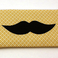 Zipper Pouch - Pencil Pouch - Mustache on Yellow