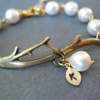 Pearl Bracelet, Bridesmaids Gifts, Flower Girl Gifts, Custom Initial Personalized Jewelry, Branch Bracelet, Bridal Party, Weddings