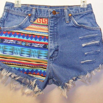 Vintage High Waisted Denim Shorts Front & Back Tribal  Waist  27   Inch
