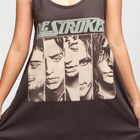 THE STROKES T Shirt Dress Julian Casablancas Indie Women Black Tunic T-Shirt Top Vest Mini Dresses Size M L