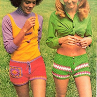 2 Retro Crochet Banded Shorts Hot Pants Pattern