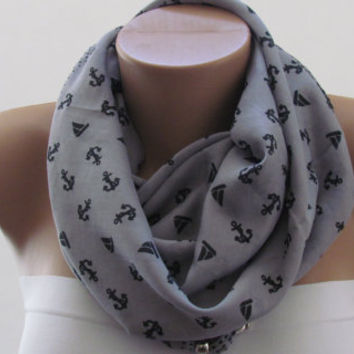 GREY SPRING SCARF. Anchor Scarf. Headband. Necklace. For 4 seasons. For her.