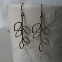 Leaf earrings- Antique bronze leaf- Branch earrings- Nature- Simple- Leaf- Filigree
