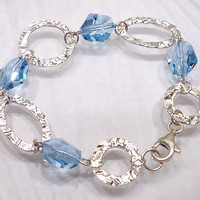 Hammered Link Sterling Silver Bracelet, Aquamarine Swarovski Crystal Bracelet, Blue Crystal Bracelet