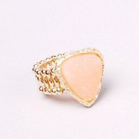 Mini Crystal Geode Ring in Peach