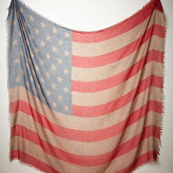 Free People Womens Tattered Flag Scarf - Taupe One