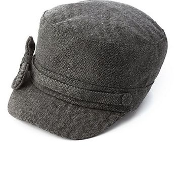 Herringbone Bow Cabbie Hat by Charlotte Russe - Gray