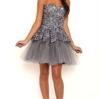 Sequin Short Homecoming Dress with Tulip Skirt and Exposed Crinoline