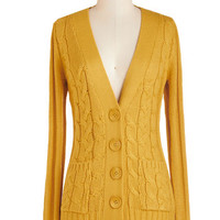 ModCloth Scholastic Mid-length Long Sleeve Your Fireside of the Story Cardigan in Honey