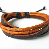 Jewelry bangle leather bracelet woven bracelet ropes bracelet women bracelet men bracelet made of brown leather cuff bracelet  SH-1304