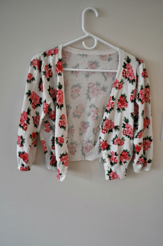 Vintage Floral Cropped Cardigan