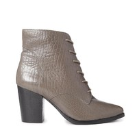 Gray Leather Lace Up Boots