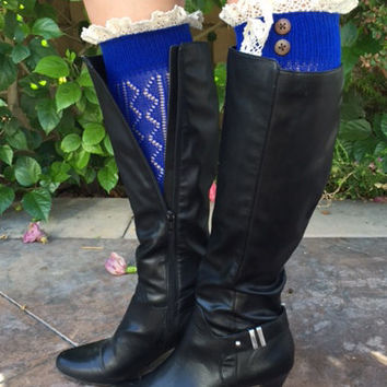 NEW Royal Blue Crochet Knitted Boot Cuff