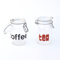 Coffe & Tea Glass Jars by seesawvintage on Etsy