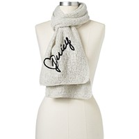 Juicy Couture Textured Embroidered Muffler Scarf