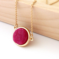Small druzy pendant - hot pink color