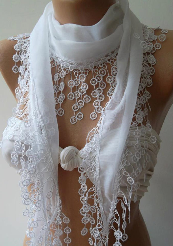 Cotton/  White/ Traditional Turkish fabric -Anatolian Shawl/Scarf-