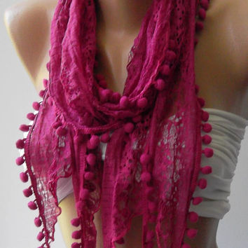 Fuchsia --- Lace and Elegance Shawl ----- Scarf----
