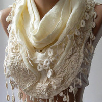 Beige -- Elegance Shawl / Scarf with Lace Edge -Linen- -Soft-