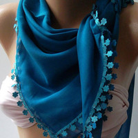 Blue  - Shawl with Lace - Turkish Shawl - Anatolians Scarf - Yemeni--
