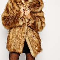 ASOS Faux Fur Hooded Vintage Coat at asos.com