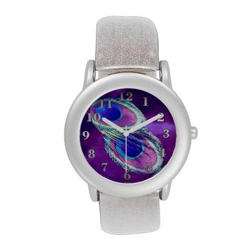 Peacock Feather Silver Glitter Strap Watch