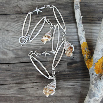 Electroformed Shell Necklace - Long Starfish Necklace Beach Jewelry