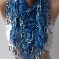 Blue Lace and Elegance Shawl / Scarf --- with Lace Edge-