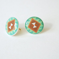 Mojave Patterned Post Earrings in Turquoise, Mint, and Red