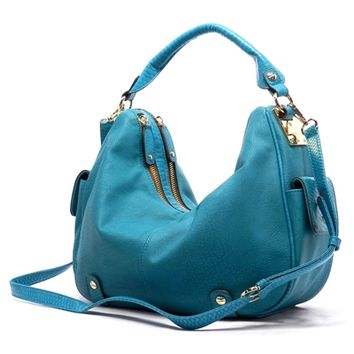 HauteChicWebstore Double Zipper Hobo Bag in Turquoise
