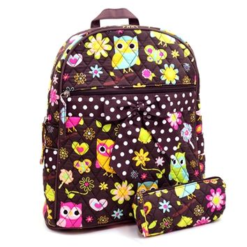 HauteChicWebstore Owl and Flower Quilted Backpack in Brown