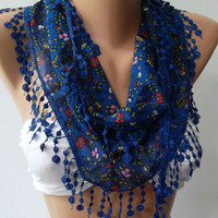 Blue / Elegance Shawl with Lacy Edge-