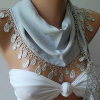 Grey - Elegance  Shawl - Scarf with Lacy Edge