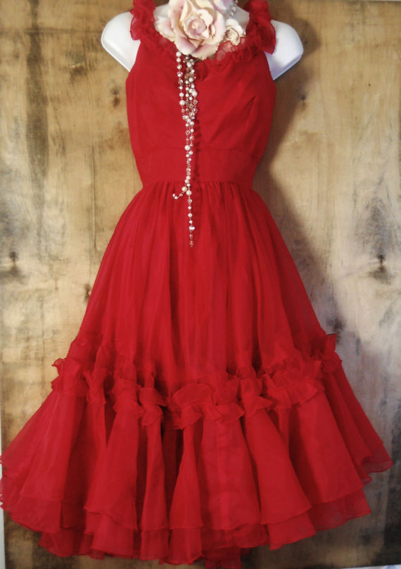 Red swing  dress vintage ruffles party flamenco small  by vintage opulence on Etsy