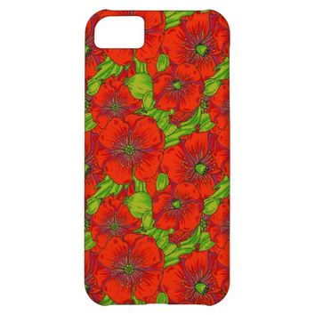 Vintage Bright Red Poppy Flower Pattern iPhone 5C Cover