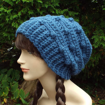 Indigo Blue Slouchy Crochet Hat - Womens Slouch Beanie - Oversized Slouchy Beanie with Bobbles - Chunky Hat - Winter Slouchy Hat