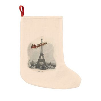 Vintage Santa over Paris Christmas Stocking