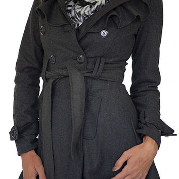 Ruffle Trench Coat Charcoal
