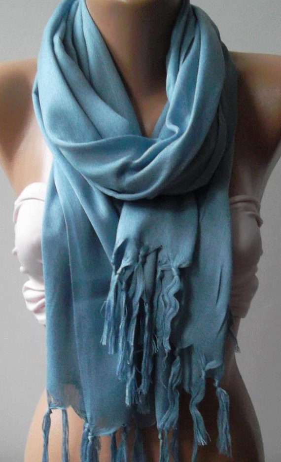 Cotton - Blue - Shawl  Scarf-